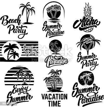 Set of summer emblems with palms. For emblem, sign,  label, badge.
