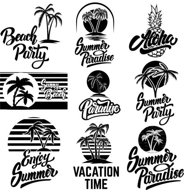 Set of summer emblems with palms. For emblem, sign,  label, badge. Vector image Set of summer emblems with palms. For emblem, sign,  label, badge. idyllic stock illustrations