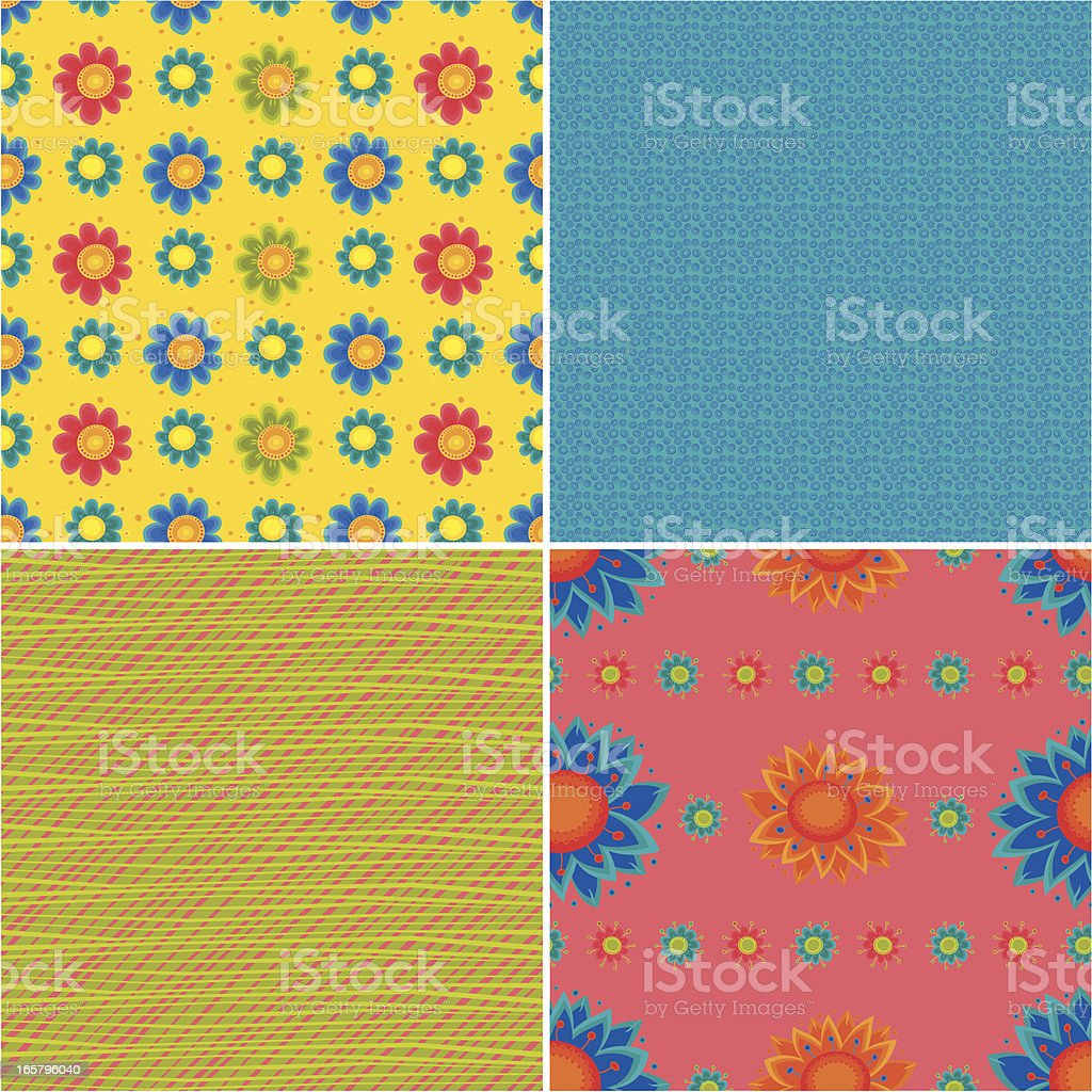 Set of Summer Floral Patterns royalty-free stock vector art