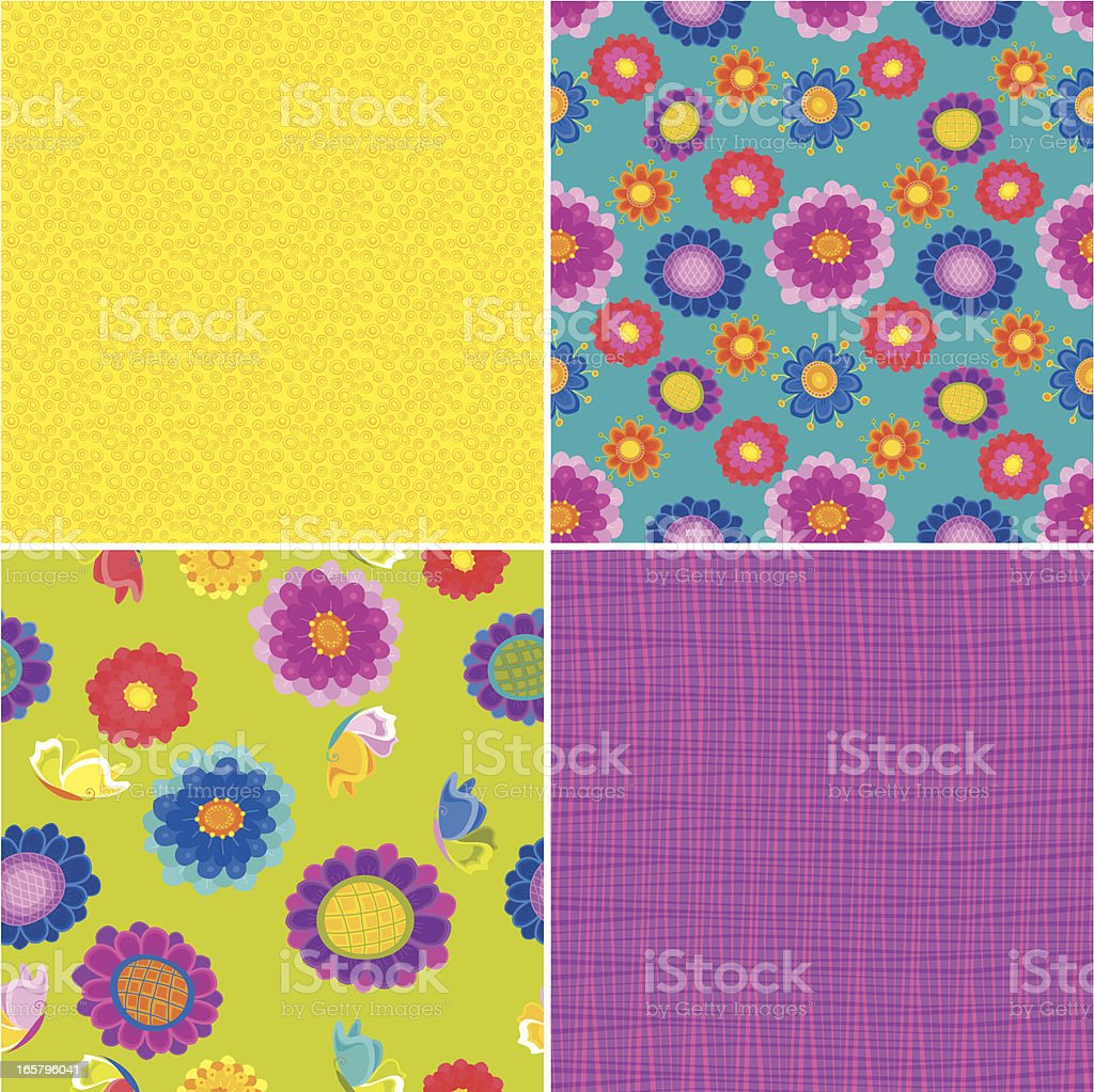 Set of Summer Floral Patterns vector art illustration
