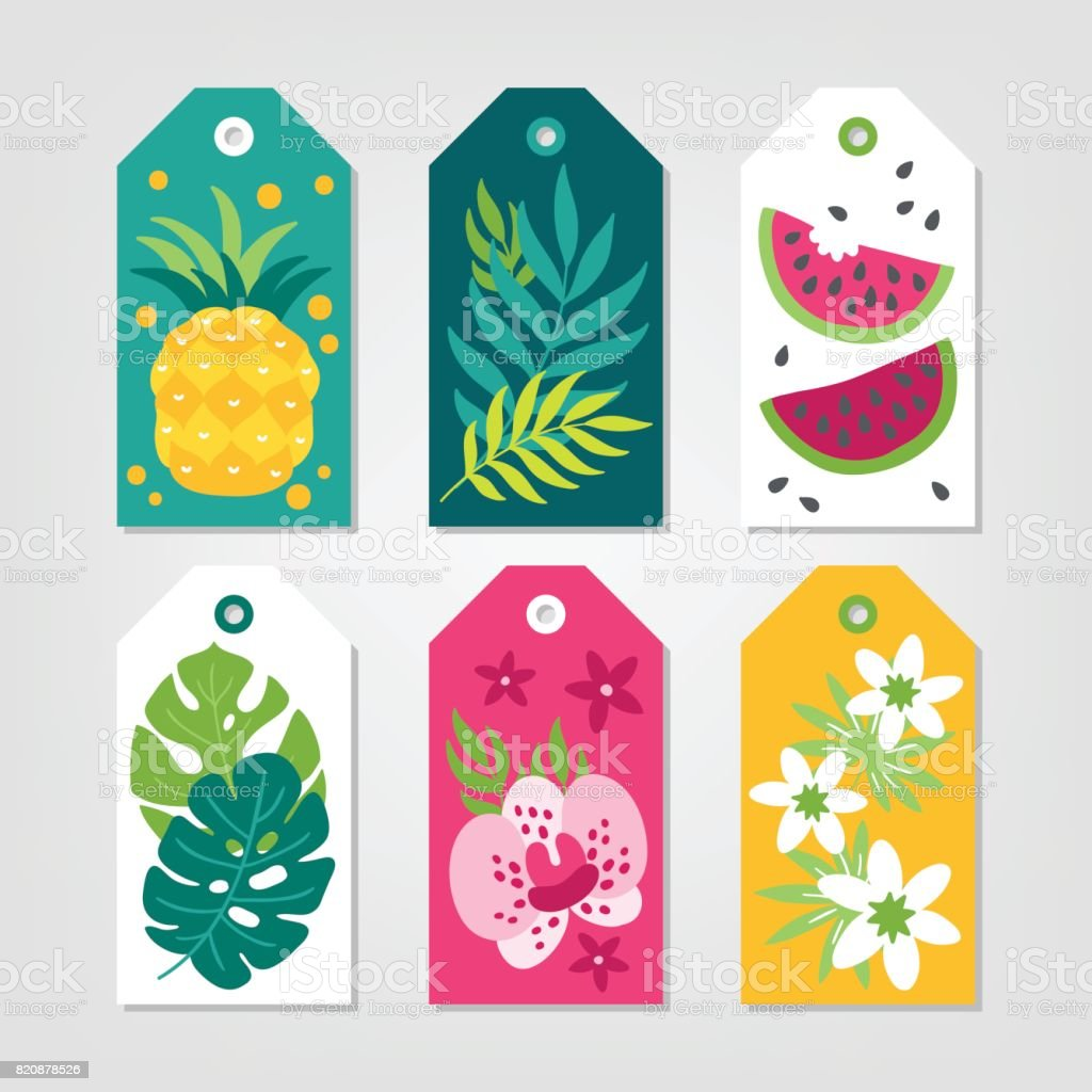 Set Of Summer Gift Tags With Pineapple Palm Leaves Watermelon Stock Illustration Download Image Now Istock