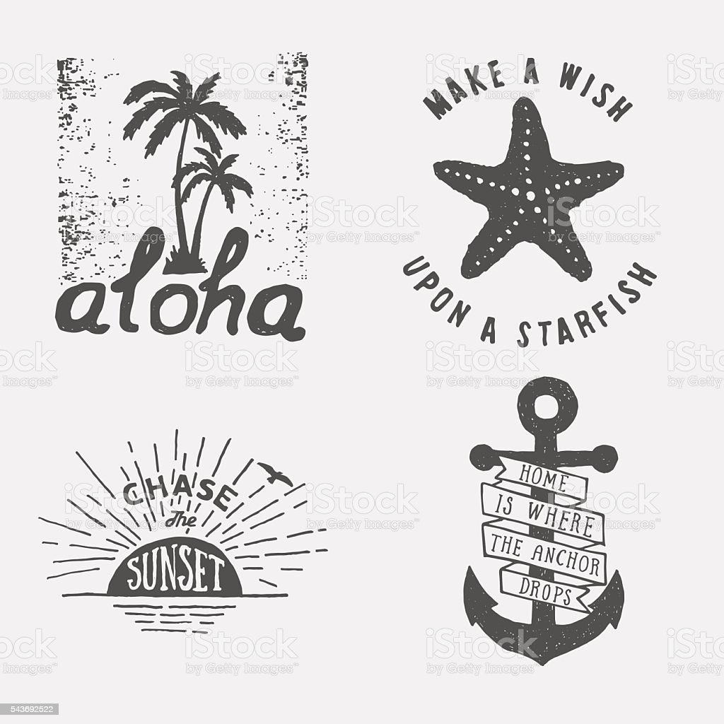 Set Of Summer Hand Drawn Typography Posters Emblems And Quotes Royalty Free