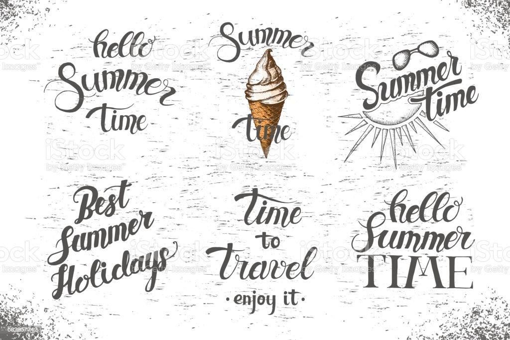 Set of summer hand made lettering. set of summer hand made lettering - arte vetorial de stock e mais imagens de beleza royalty-free