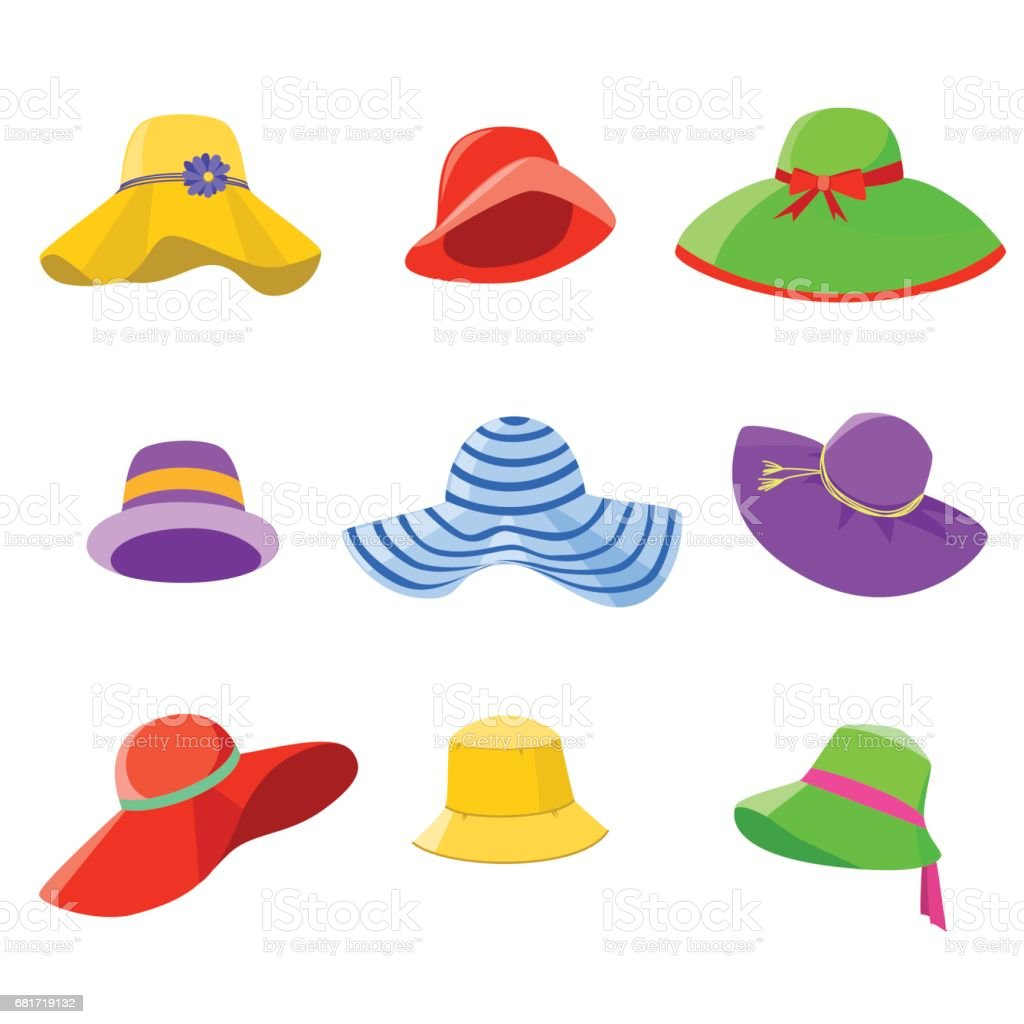 Set of summer hats women vector art illustration