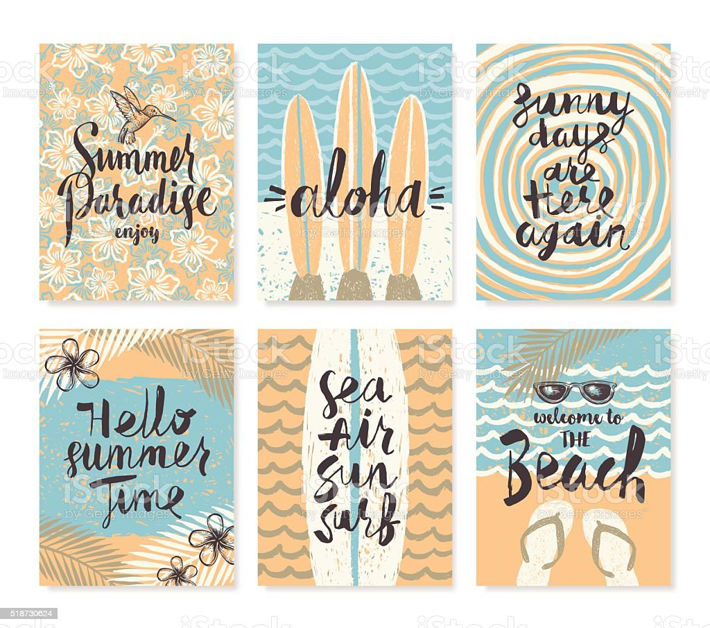Set Of Summer Holidays And Vacation Posters Or Greeting Card Stock Illustration Download Image Now Istock