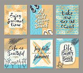 Vector set of summer holidays and tropical vacation hand drawn posters or greeting card with handwritten calligraphy quotes,  words and phrases.
