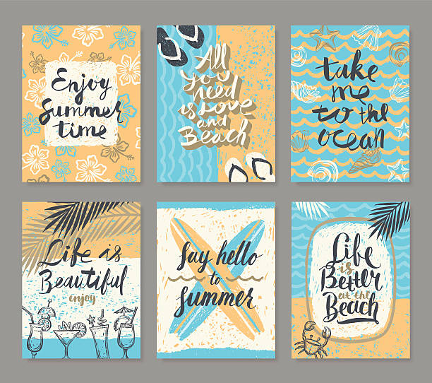 Set of summer holidays and vacation posters or greeting card vector art illustration