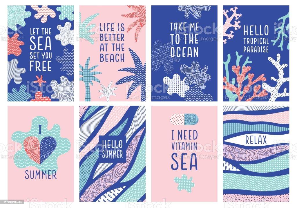 Set of summer holidays quotes vector art illustration
