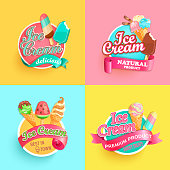 Set of summer ice creams labels. Bright collections for different sundaes in hot season.Gelato for banner,poster,brand,template,packaging,packing,emblem. Advertise for cafe.Vector illustration.