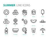 set of summer icons, hot, ice cream, sun, drinks
