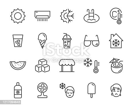 set of summer icons, hot, ice, drinks,