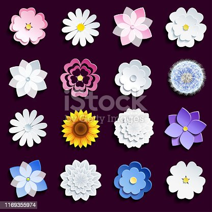 Set of beautiful stylish modern spring and summer 3d flowers isolated on dark background. Collection of stylized pink and white sakura blossom - japanese cherry tree, chamomile, sunflower, dahlia, dandelion. Elements of floral design, icons flowers. Vector illustration