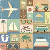 set of summer retro icons , eps 10