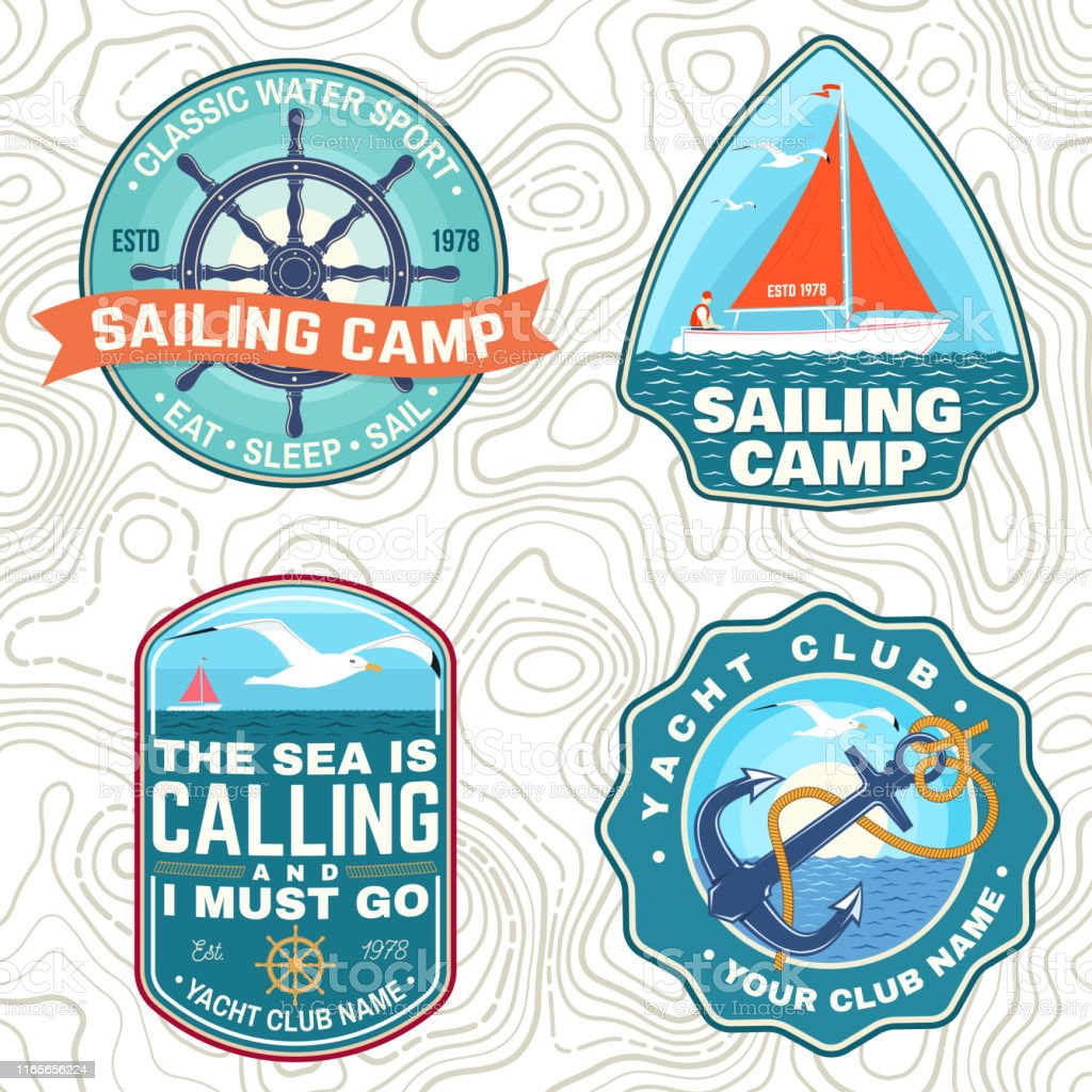 Set of summer sailing camp patches. Vector. Concept for shirt, print,...