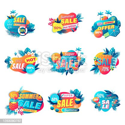 Set of summer sale banner 3d style. For online shopping and store, poster, newsletter, social media ads and banners, website badge, marketing material, label and sticker template. Vector illustration.