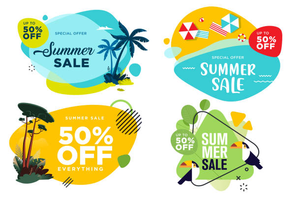 набор летних этикеток и значков. - holiday background stock illustrations