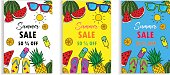 Set of Summer Sale Layout for Banner Voucher Discount.Vector Illustration Template.