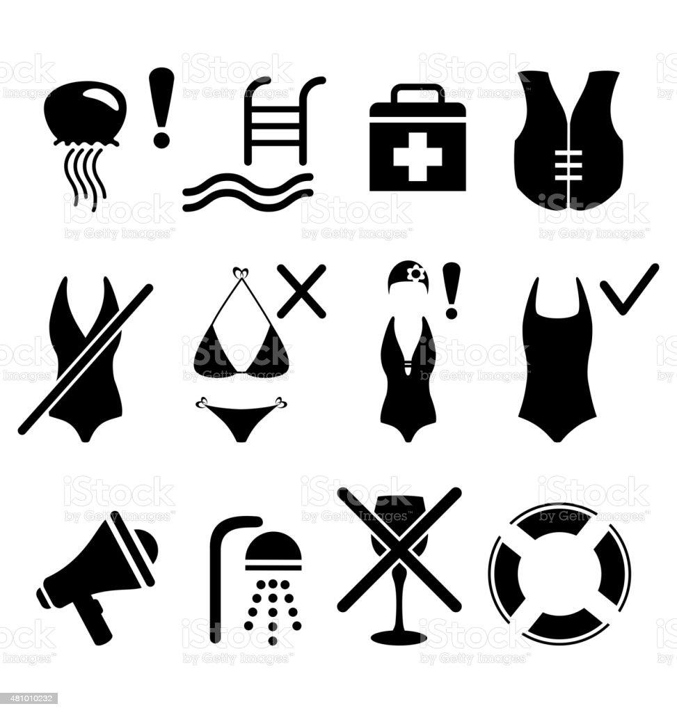 Set of summer swim water information flat icon on white vector art illustration