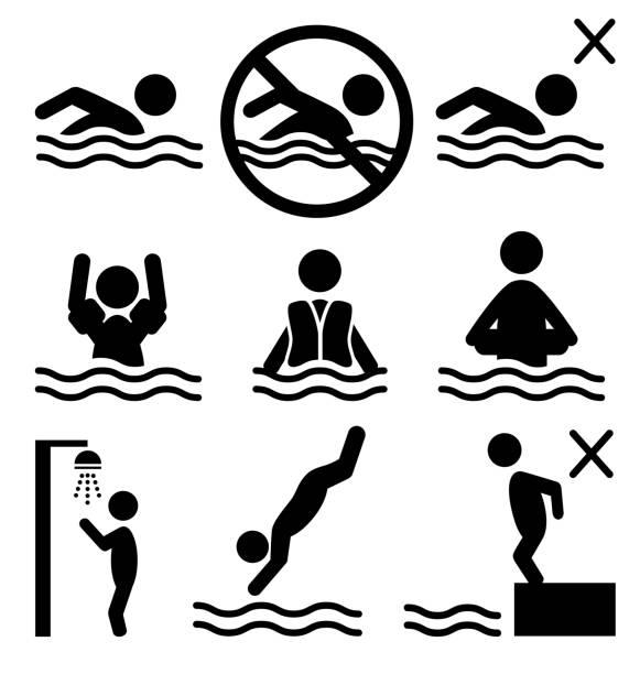 ilustrações de stock, clip art, desenhos animados e ícones de conjunto de verão de natação água informações plana ícone de pictograma pessoas - jump pool, swimmer