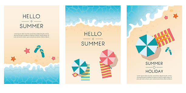 set of summer travel flyers with beach items and wave. - beach stock illustrations