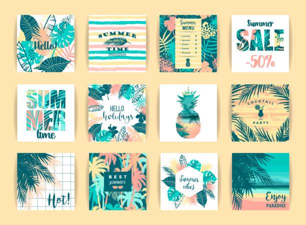 bildbanksillustrationer, clip art samt tecknat material och ikoner med uppsättning sommar tropiska mönster. vector mallar. - delstat hawaii