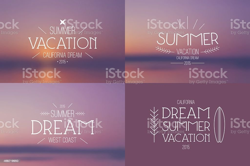 Set of summer vacation badges and blurred backgrounds vector art illustration