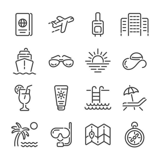 Set of summer vacation or travel outline icons. Vector illustration. vector art illustration