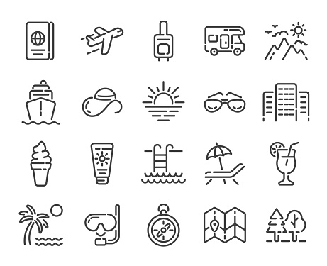 Set of summer vacation, travel or tourism outline icons. Vector illustration.