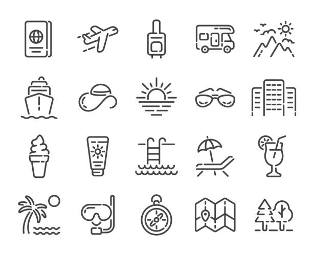 Set of summer vacation, travel or tourism outline icons. Vector illustration. Set of summer vacation, travel or tourism outline icons isolated on white background. Vector illustration. airplane symbols stock illustrations