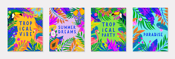 Set of summer vector illustration with bright tropical leaves,flamingo,toucan and exotic fruits