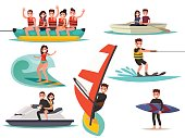 Set of summer water active recreation. Banana boat, surfing,