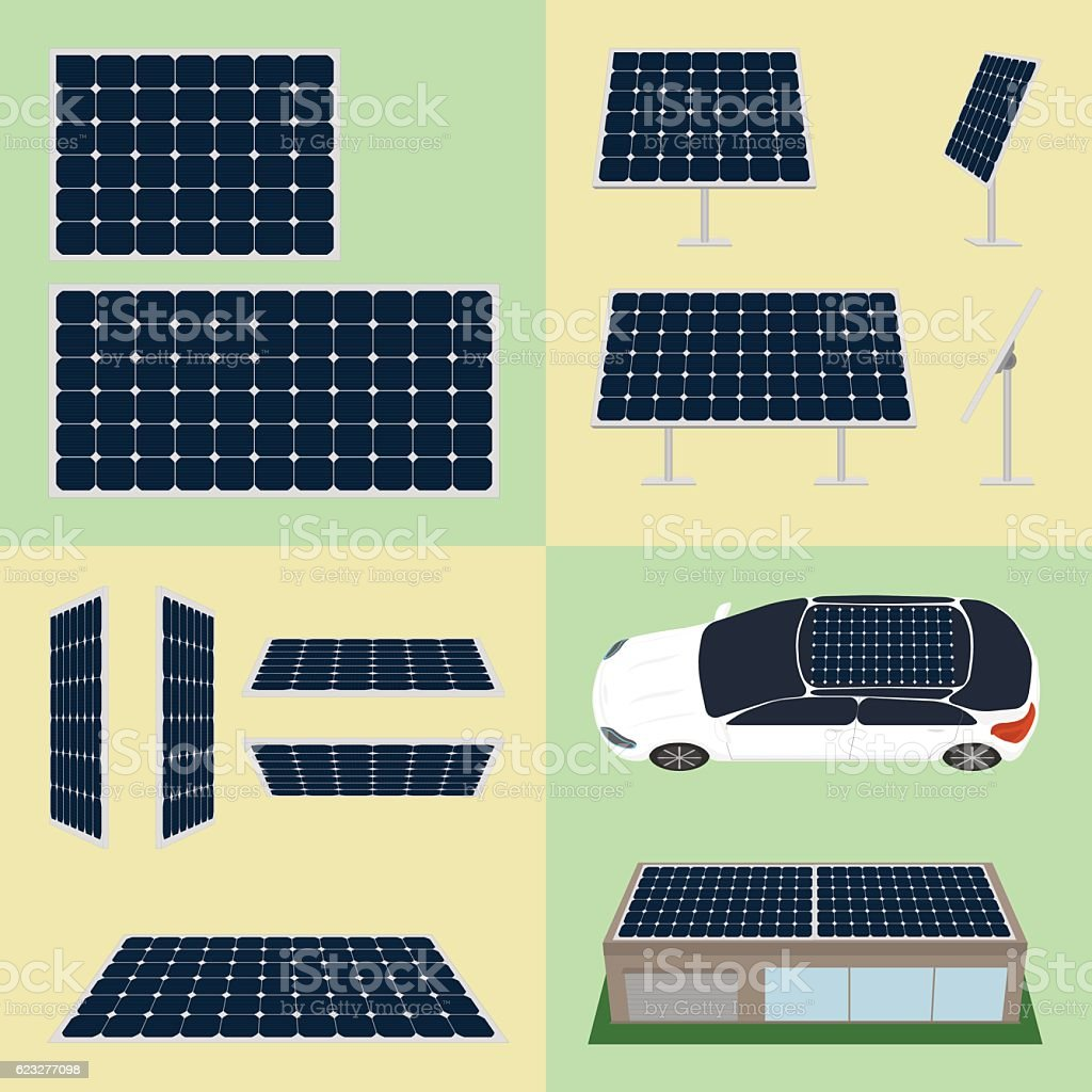 Set of sun batteries on isolated background