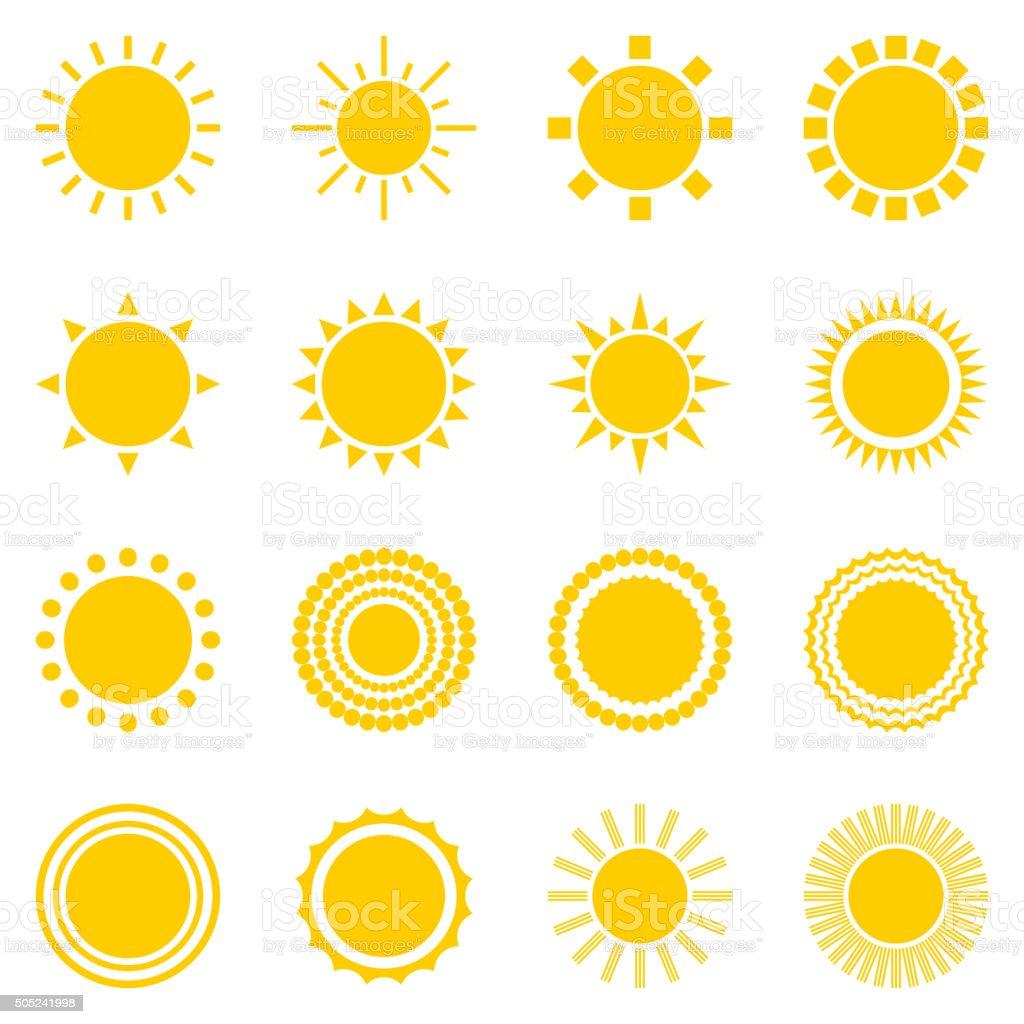 Set of sun icons isolated on white background vector art illustration