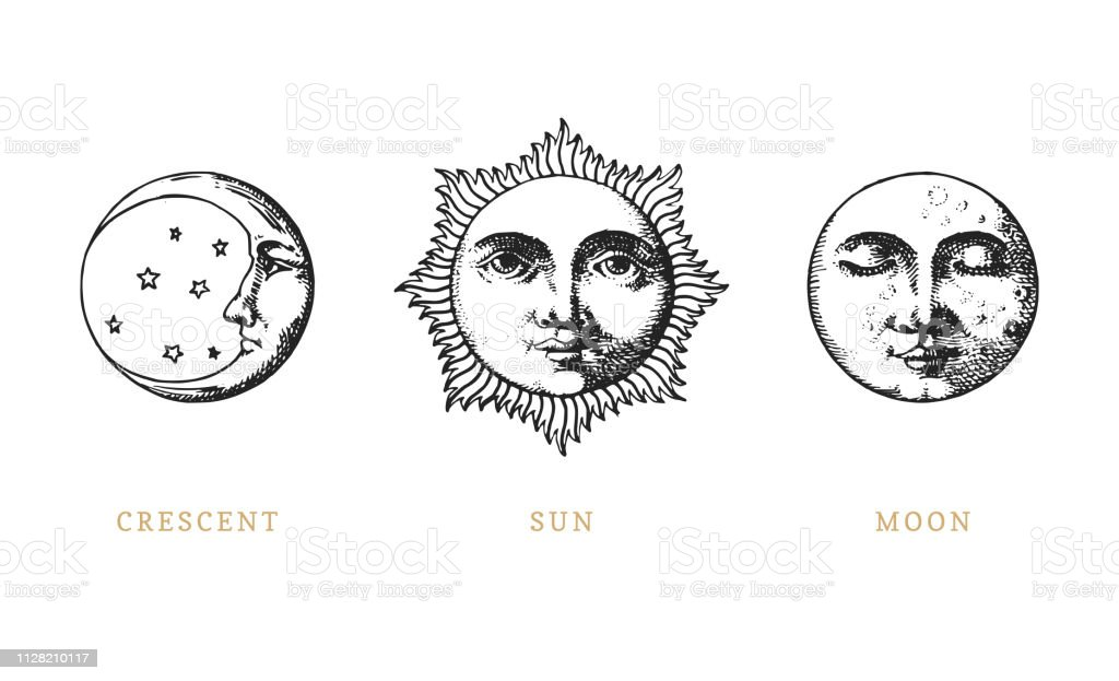 Set of Sun, Moon and crescent, hand drawn in engraving style. Vector graphic retro illustrations. royalty-free set of sun moon and crescent hand drawn in engraving style vector graphic retro illustrations stock illustration - download image now