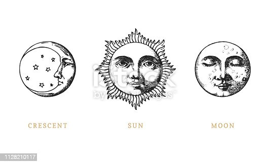 Set of Sun, Moon and crescent, hand drawn in engraving style.Vector graphic retro illustrations.