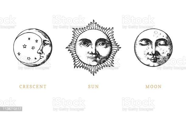 Set of sun moon and crescent hand drawn in engraving style vector vector id1128210117?b=1&k=6&m=1128210117&s=612x612&h=riavmmhqmenlw4xtusase3qdpqhs53d2ac87p1bxmfc=