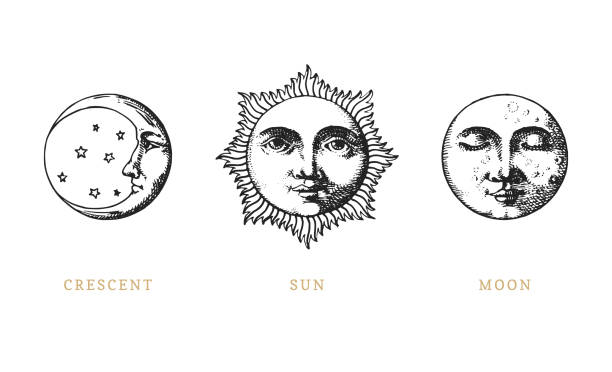 ilustrações, clipart, desenhos animados e ícones de conjunto de sol, a lua e a crescent, mão desenhada no estilo de gravura. ilustrações retrô gráficas vetoriais. - antiguidades