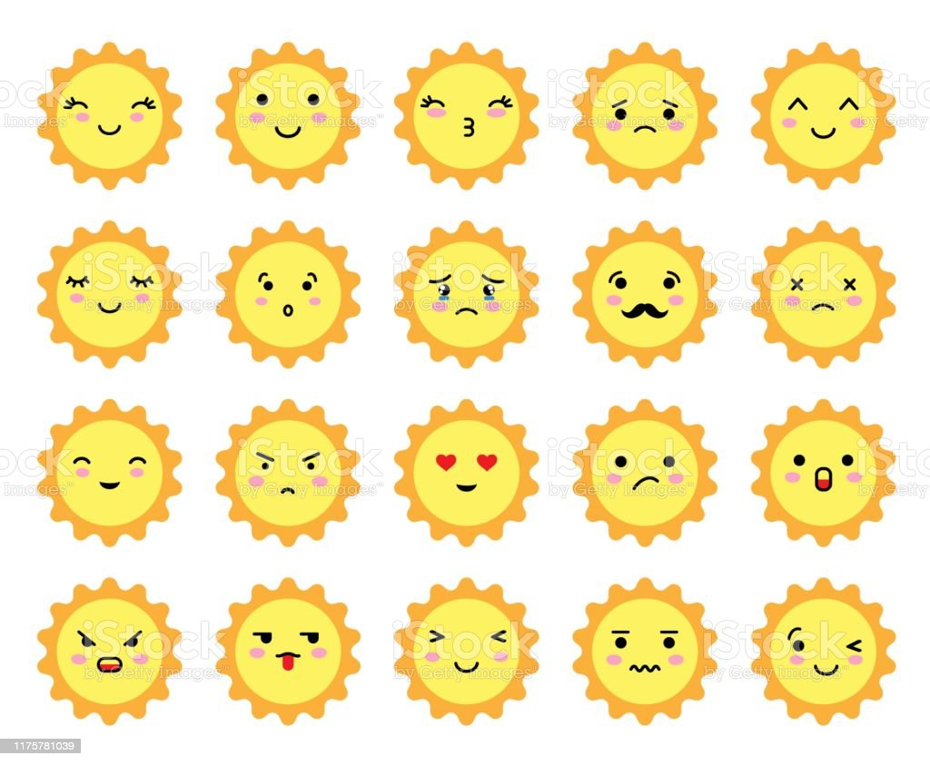 Ensemble Demoji En Forme De Soleil Avec Une Humeur Differente Kawaii Emoticones Soleil Mignon Et Emoji Anime Japonais Visages Expressions Vecteurs Libres De Droits Et Plus D Images Vectorielles De Bonheur Istock