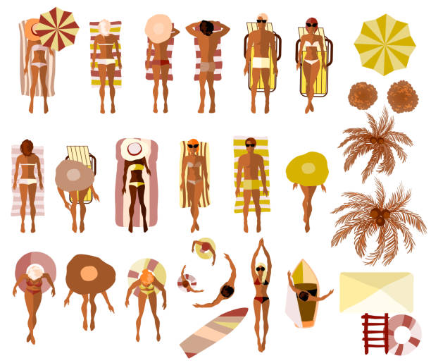 Set of Sunbathing people on the summer beach vector art illustration