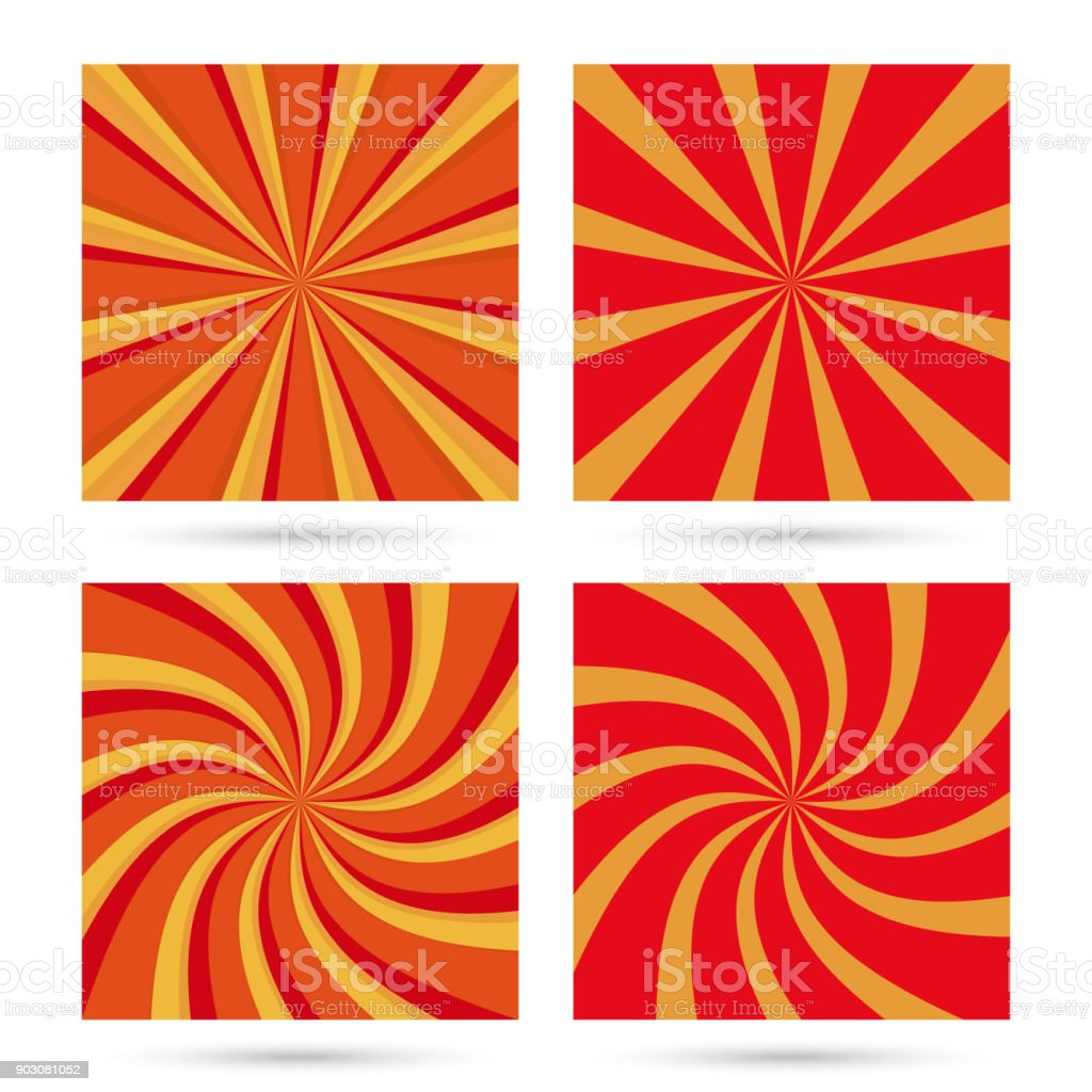 Set of sunburst and swir. vector art illustration