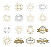 Vector illustration of the sunburst design elements and badges.