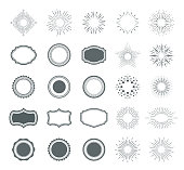 Vector illustration of the Set of sunburst design elements and badges