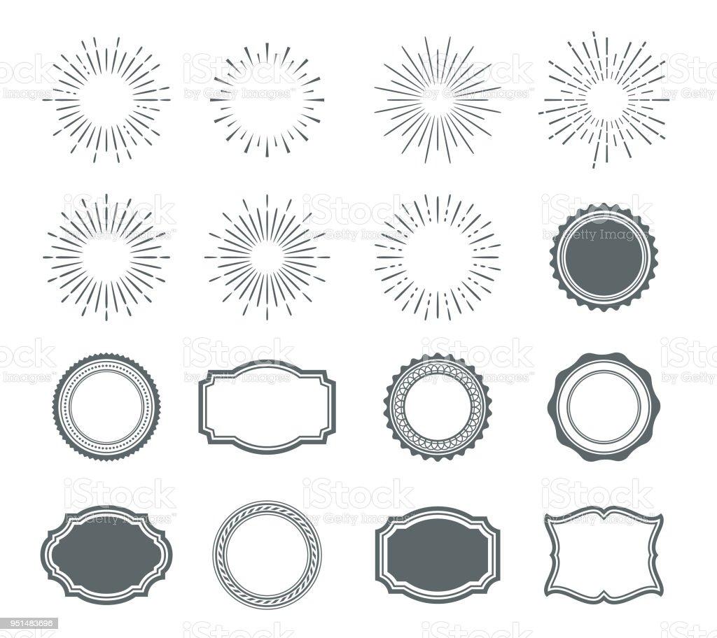 Set of sunburst design elements and badges