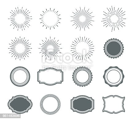 Vector illustration of the sunburst design and badges.