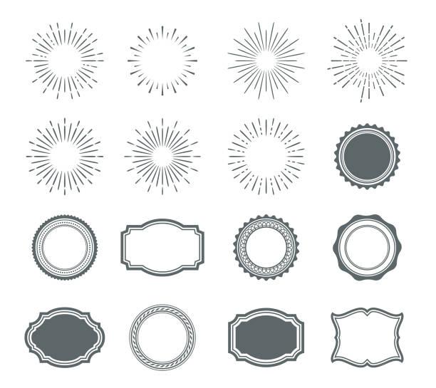 stockillustraties, clipart, cartoons en iconen met set sunburst ontwerpelementen en badges - archiefbeelden