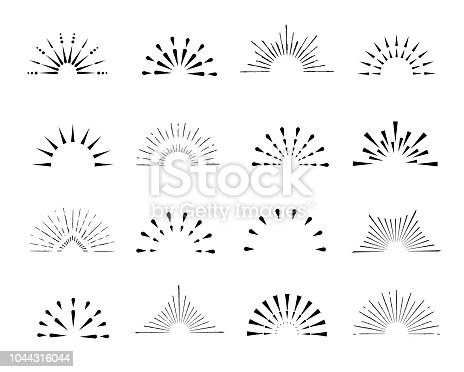 Set of sunburst frames, vintage style, halves, isolated on a white background. Vintage illustration.