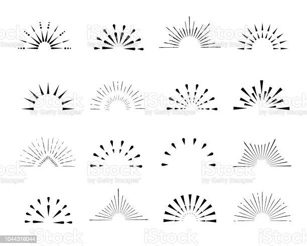 Set of sunburst frames vintage style halves isolated on white vector id1044316044?b=1&k=6&m=1044316044&s=612x612&h=1ji yqrpalpbo30khbui4altkbquoys6tyetqsb2xvc=
