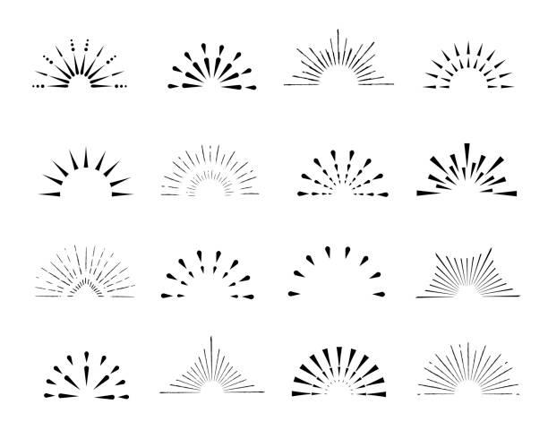 stockillustraties, clipart, cartoons en iconen met set sunburst frames, vintage stijl, helften, geïsoleerd op een witte achtergrond. vintage illustratie. - archiefbeelden