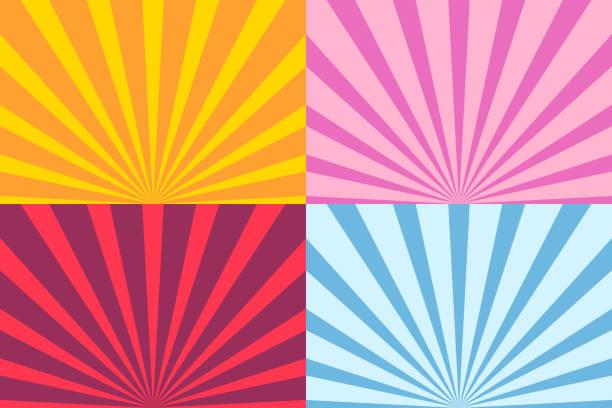 bildbanksillustrationer, clip art samt tecknat material och ikoner med uppsättning av sunburst stråle - pink sunrise