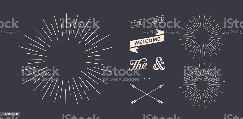 Set of sunburst, vintage graphic elements set of sunburst vintage graphic elements - immagini vettoriali stock e altre immagini di a forma di stella royalty-free